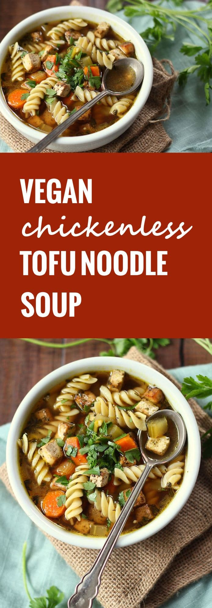 Chickenless Tofu Noodle Soup