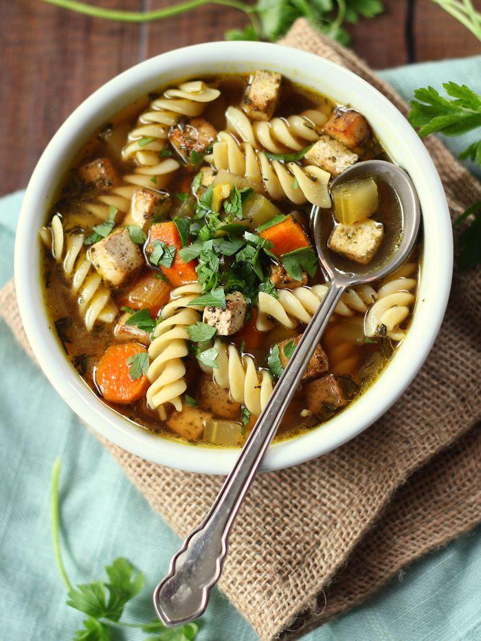 Vegan Chickenless Tofu Noodle Soup - Connoisseurus Veg