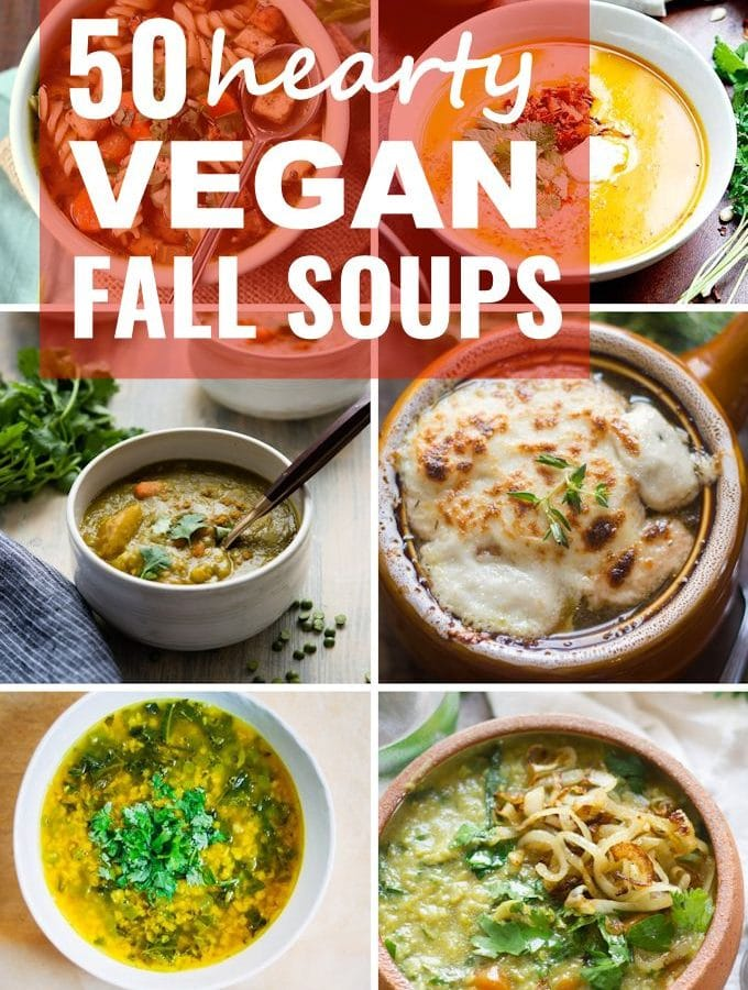 Collage Showing 6 Vegan Soups