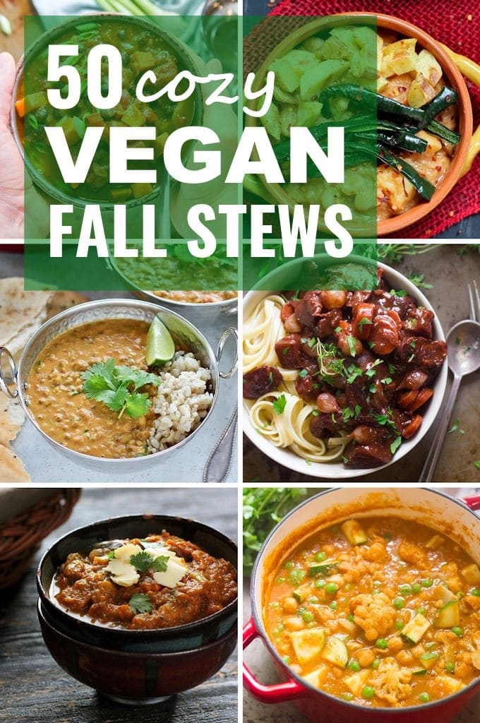 Collage Showing 6 Vegan Fall Stews