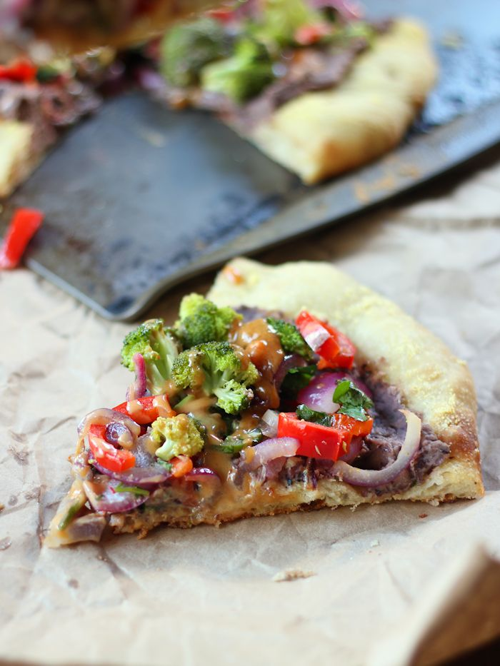 Roasted Veggie & Black Bean Mexican Pizza