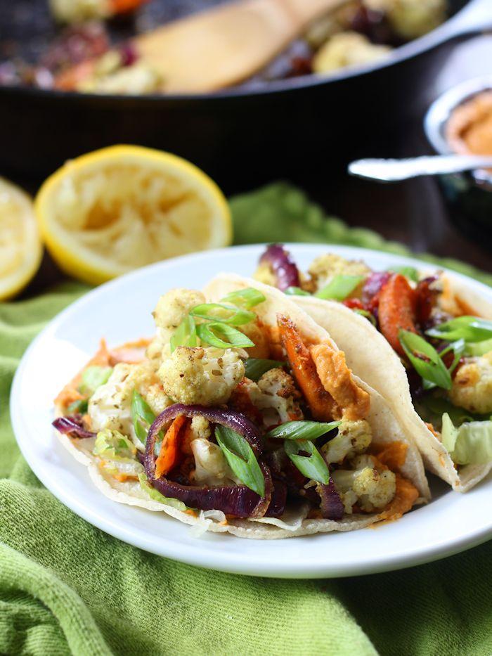 Za'atar Roasted Veggie Tacos with Smoky Maple Hummus