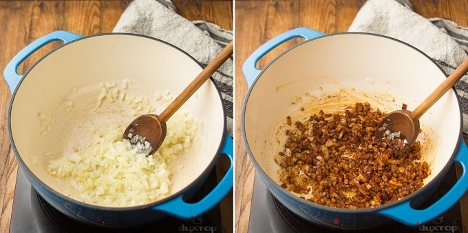 Side By Side Images Showing First Two Stages of Making Butternut Squash Chili: Sweat Onion and Add Garlic and Spices