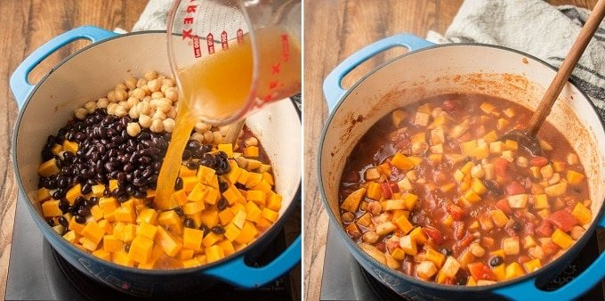 Side By Side Images Showing Last Two Steps for Making Butternut Squash Chili: Add Tomatoes, Beans, Squash and Apples, Then Simmer