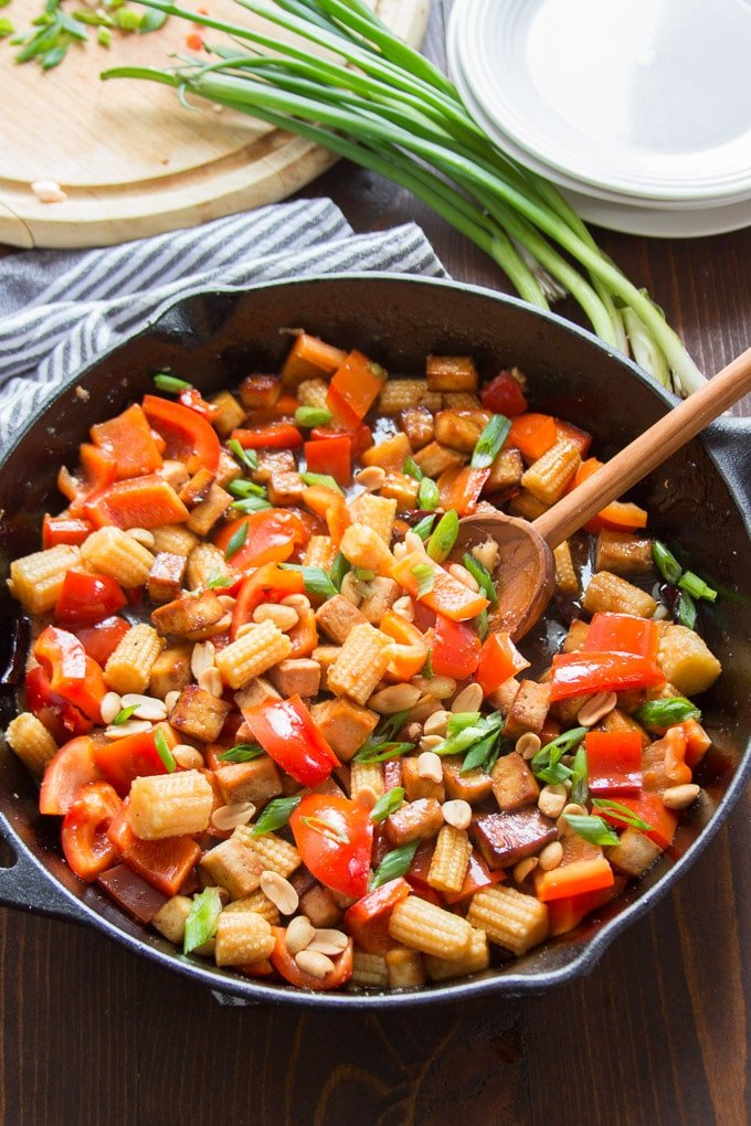 Kung Pao Tofu in a Skillet with Serving Spoon