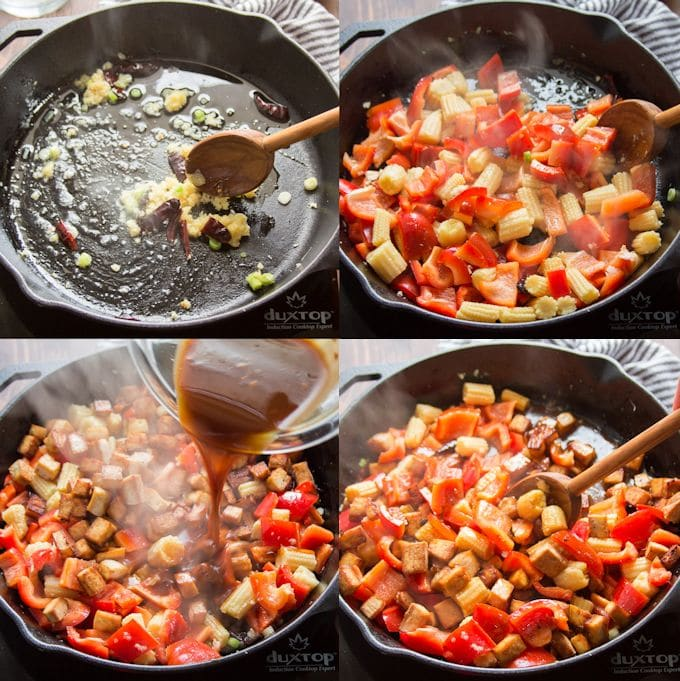 Collage Showing Steps for Making Kung Pao Tofu: Stir-Fry Aromatics, Stir-Fry Vegetables, Add Sauce, and Add Tofu and Peanuts