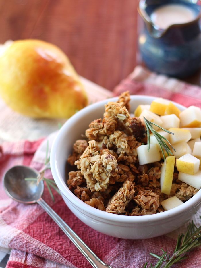 Sweet & Savory Rosemary Walnut Butter Granola