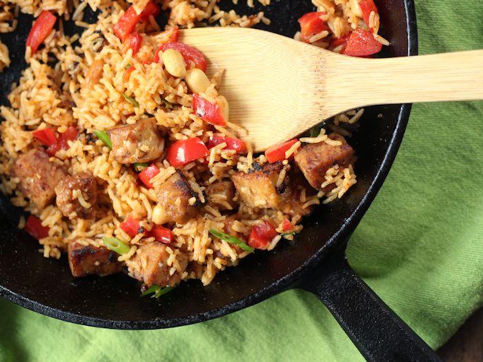 Red Curry Basmati Rice and Tempeh Stuffed Acorn Squash
