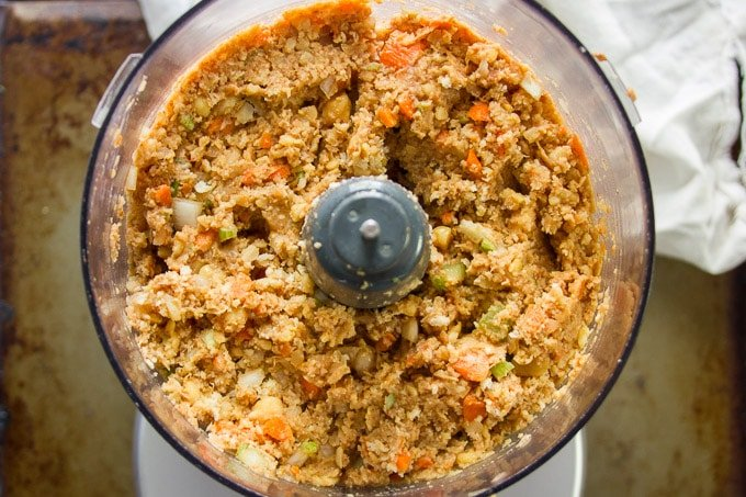 Food Processor Bowl Filled with Mixture For Making Vegan Meatloaf