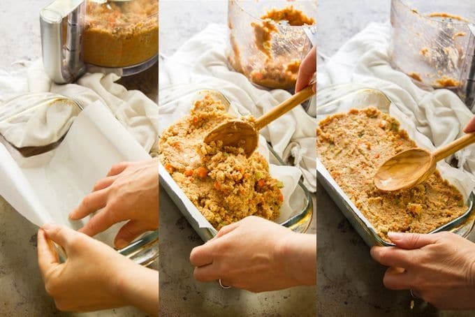 Collage Showing Steps for Preparing a Vegan Meatloaf: Line Loaf Pan with Parchment Paper, Spoon Chickpea Mixture Into the Pan, and Smooth Out the Top with a Spoon