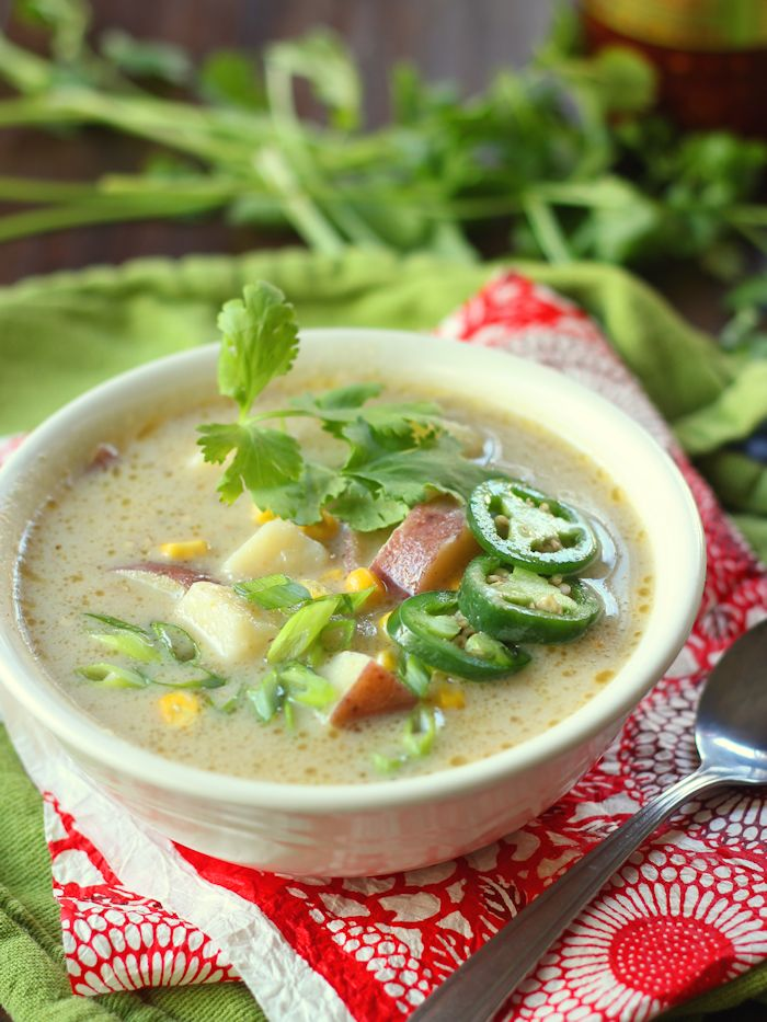 Easiest. Meal. Ever. This rich and creamy green curry potato soup ...