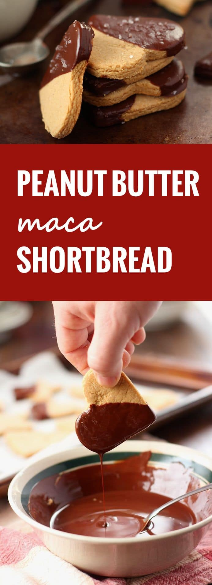 Salted Chocolate Maca Peanut Butter Shortbread Cookies