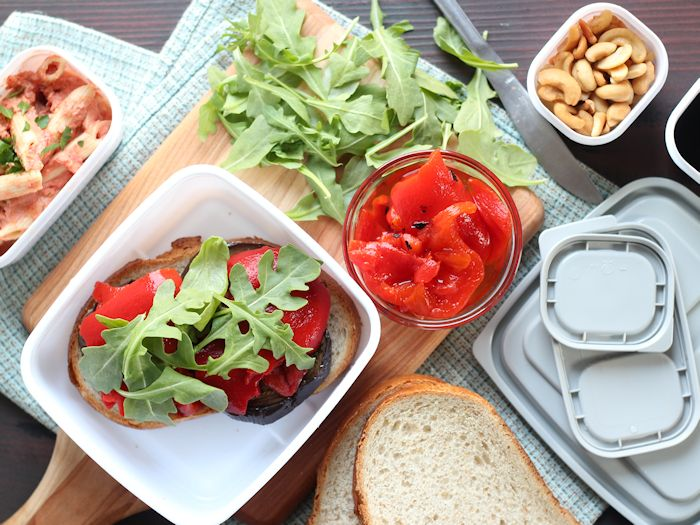 Roasted Eggplant Sandwiches + Healthy Packed Lunch Ideas