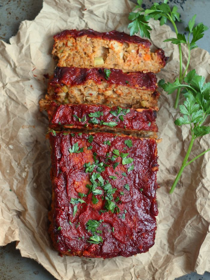 Overhead View of a Partially Sliced Vegan Chickpea Meatloaf