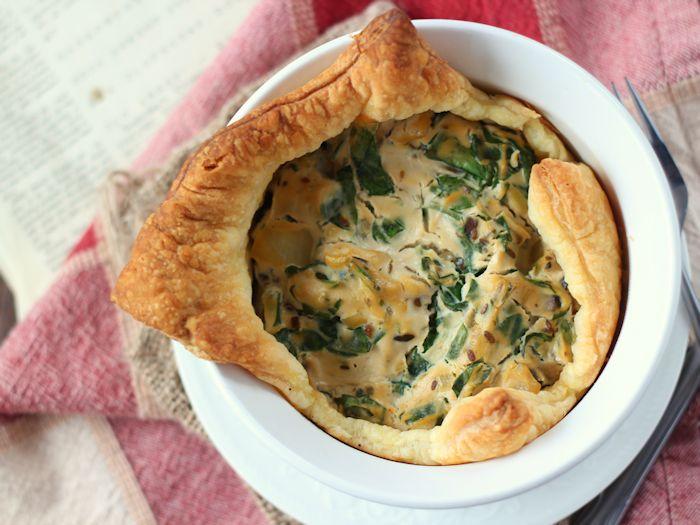 Spinach & Mushroom Mini Vegan Puff Pastry Quiche