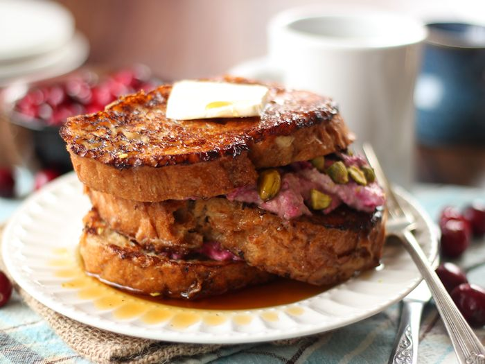 Cranberry Cheesecake & Pistachio Stuffed Vegan French Toast