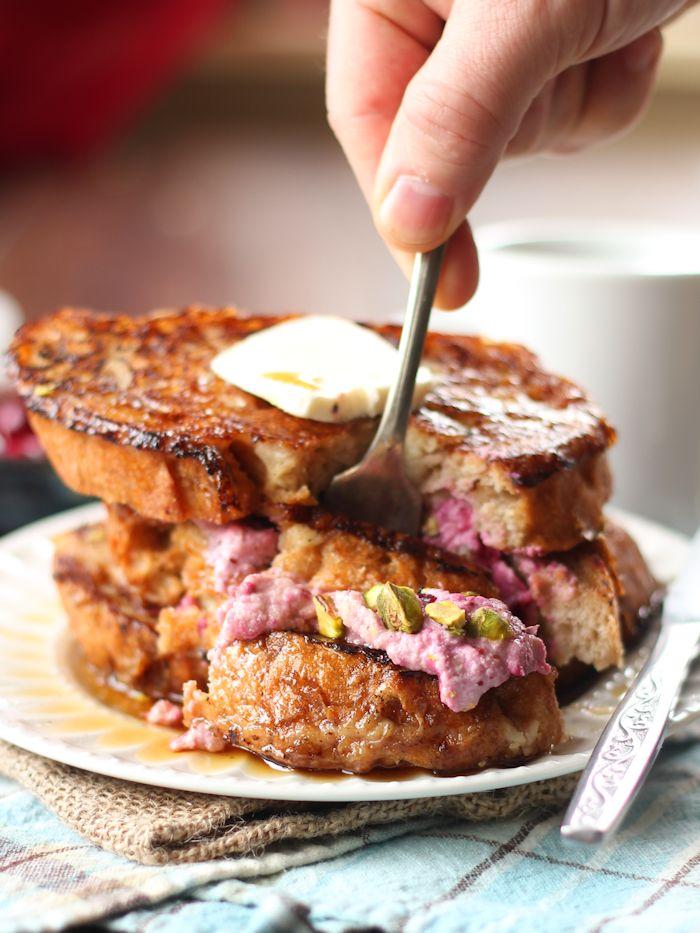 Cranberry Cheesecake & Pistachio Stuffed Vegan French Toast