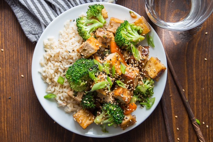 Overhead View of Tofu Stir-Fry on a Plate with Rice