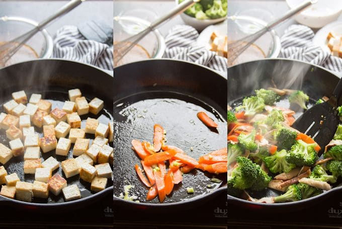 Collage Showing Steps 1-3 For Making Tofu Stir-Fry: Pan-Fry Tofu, Stir-Fry Carrots, and Stir-Fry Broccoli and Mushrooms