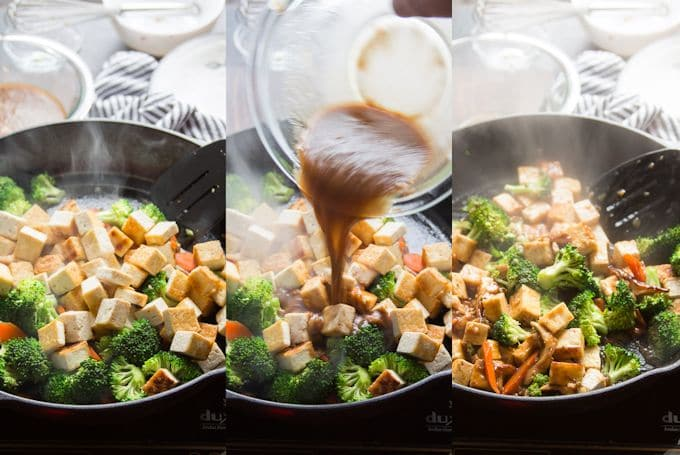 Collage Showing Steps 4-6 For Making Tofu Stir-Fry: Add Tofu To the Skillet, Add Sauce, and Simmer Until Sauce Thickens