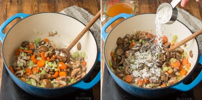 Side By Side Images Showing Two Stages of Cooking Vegan Beef Stew: Sweat Veggies, and Add Flour