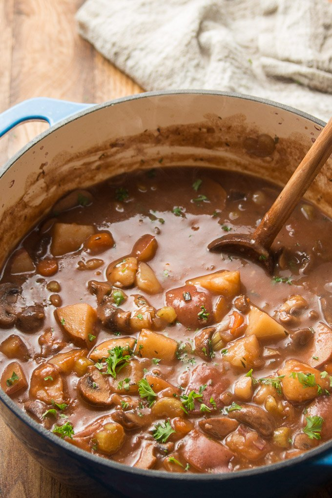 Close Up of Vegan Beef Stew in a Large Pot