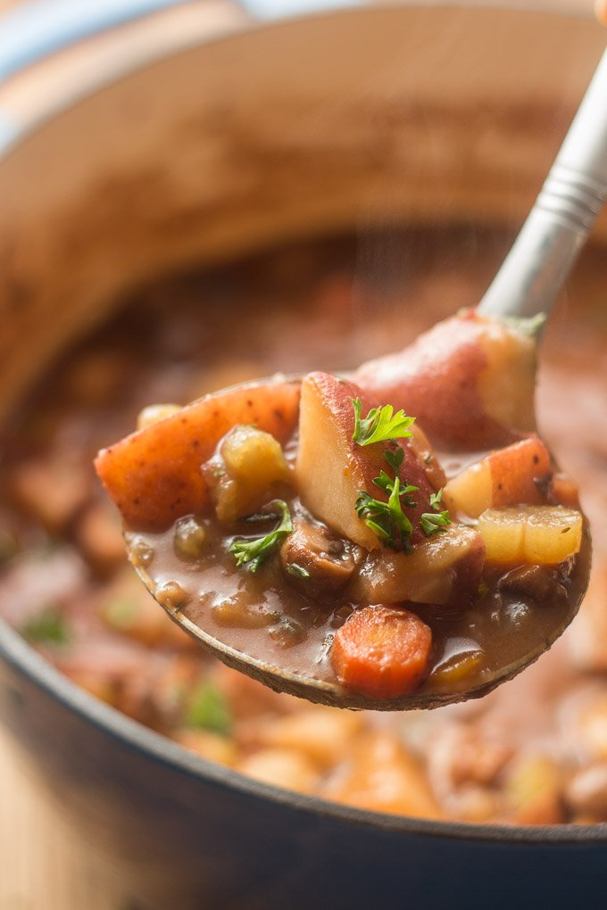 Close Up of a Ladle Filled with Vegan Beef Stew