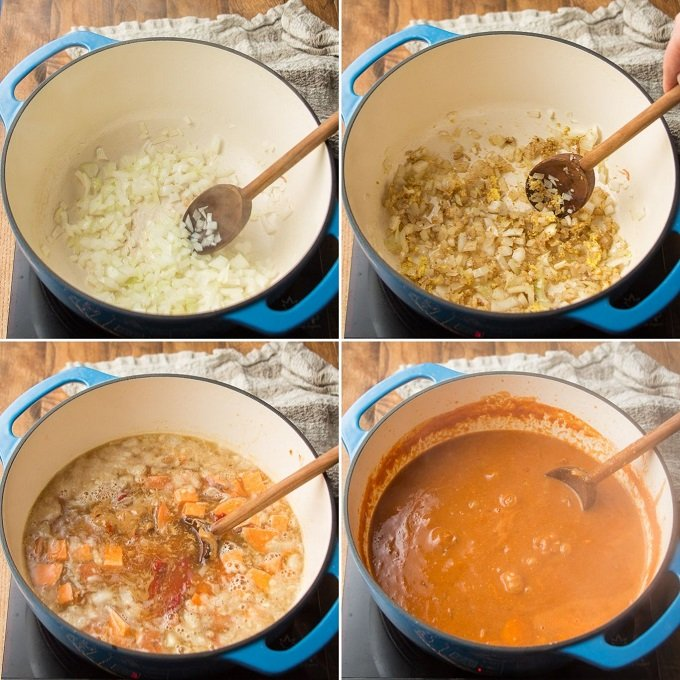 Collage Showing Steps 1-4 for Making African Peanut Soup: Sweat Onions, Add Spices, Add Broth, Peanut Butter, and Tomato Paste, and Add Sweet Potato