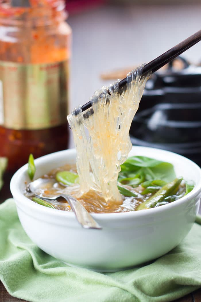 hot amp sour glass noodle soup connoisseurus veg