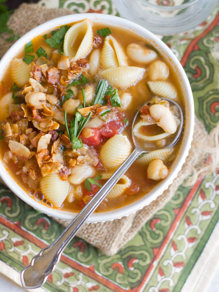 Bowl of Vegan Pasta E Fagioli with Spoon