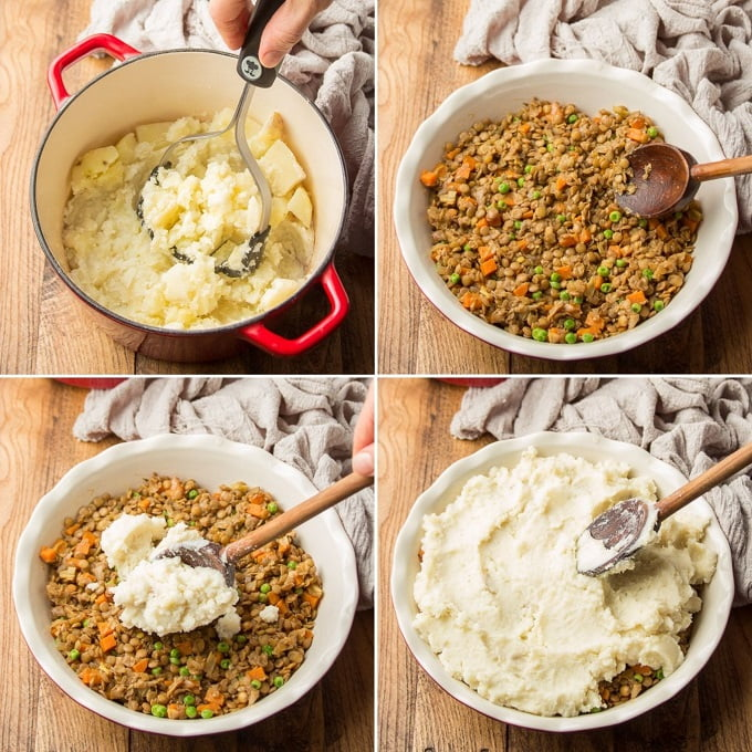 Collage Showing Steps for Assembling Vegan Shepherd's Pie: Mash Potatoes, Transfer Filling To Dish, Place Potatoes on Top, and Smooth Out with Spoon
