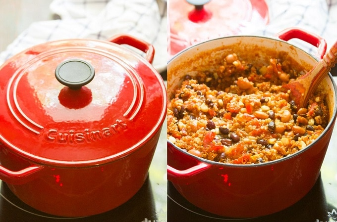 Collage Showing Steps for Making One-Pot Quinoa Chili: Simmer Peppers, Onions, Garlic, Tomatoes, Spices and Quinoa While Covered, Uncover and Simmer with Beans and Corn