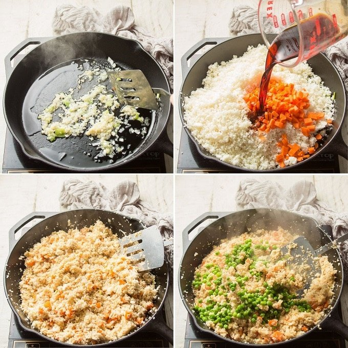 Collage Showing Steps for Making Cauliflower Fried Rice: Cook Scallions and Garlic, Add Cauliflower Rice, Carrots and Soy Sauce, Stir-Fry, and Add Peas