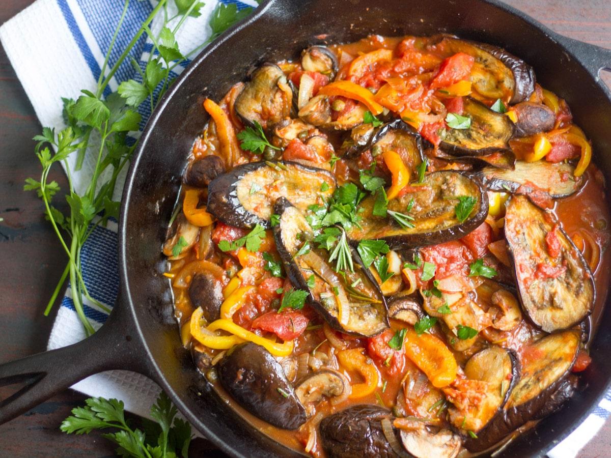 Eggplant cacciatore connoisseurus veg for V kitchen restaurant vegetarian food