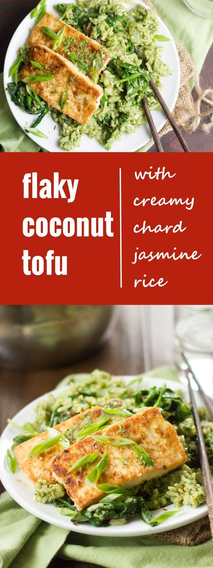 Flaky Coconut Tofu with Creamy Chard Jasmine Rice