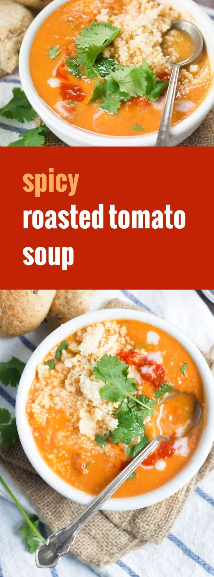 Spicy Roasted Tomato Soup with Couscous