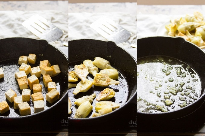 Three Photos Showing Steps for Making Tofu Artichoke Scampi: Brown Tofu, Brown Artichokes, and Sautee Garlic