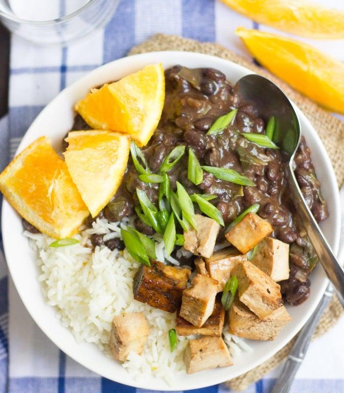 Overhead View of a Vegan Brazilian Black Bean Bowl with Spoon