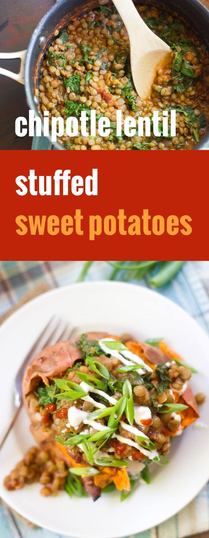 Chipotle Lentil Stuffed Sweet Potatoes