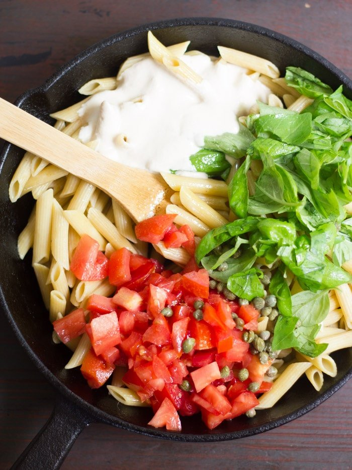 in creamy cashew sauce and tossed with juicy tomatoes and fresh basil ...