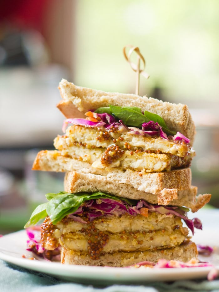 Crispy Maple-Dijon Tempeh Sandwiches