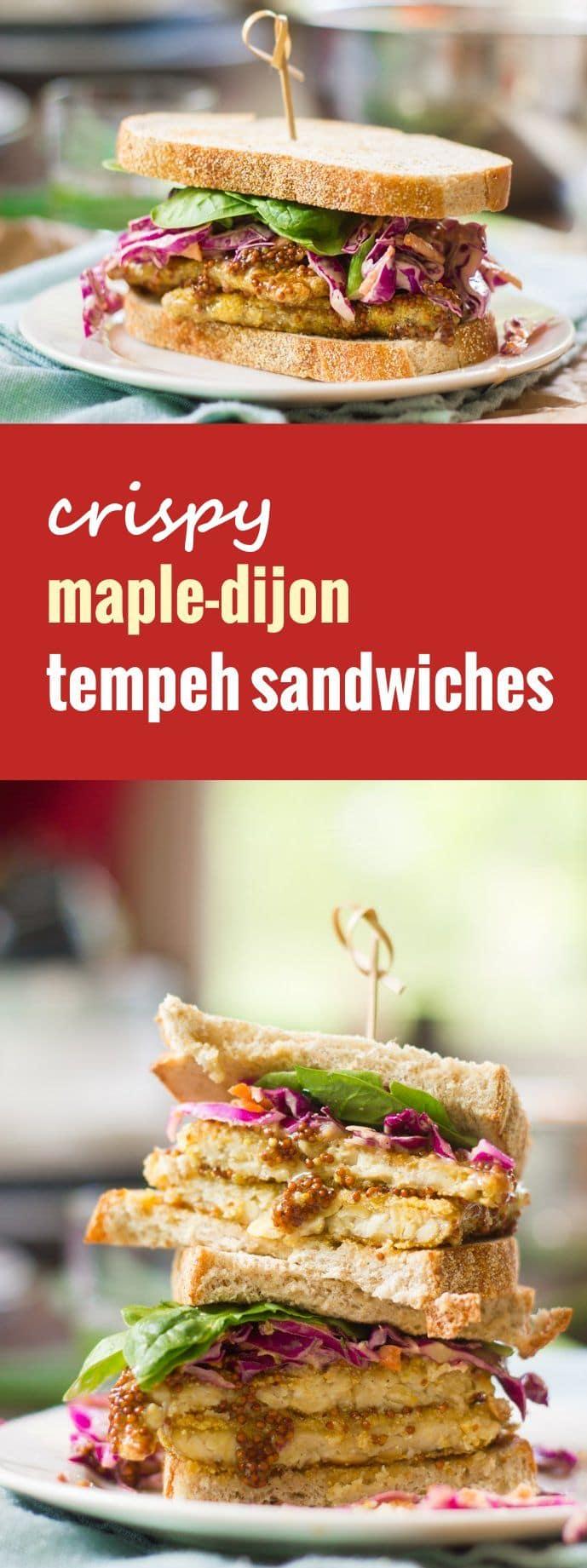 Crispy Maple-Dijon Tempeh Sandwiches
