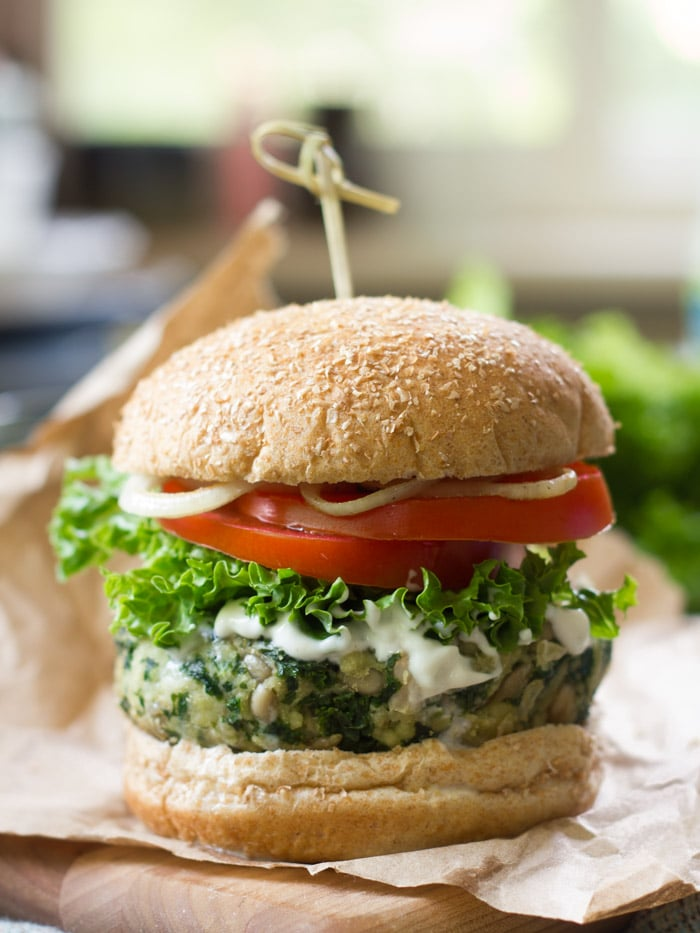Kale Burger Topped with Lettuce and Tomato