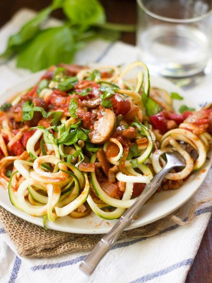 Easy Walnut & Mushroom Zucchini Noodles