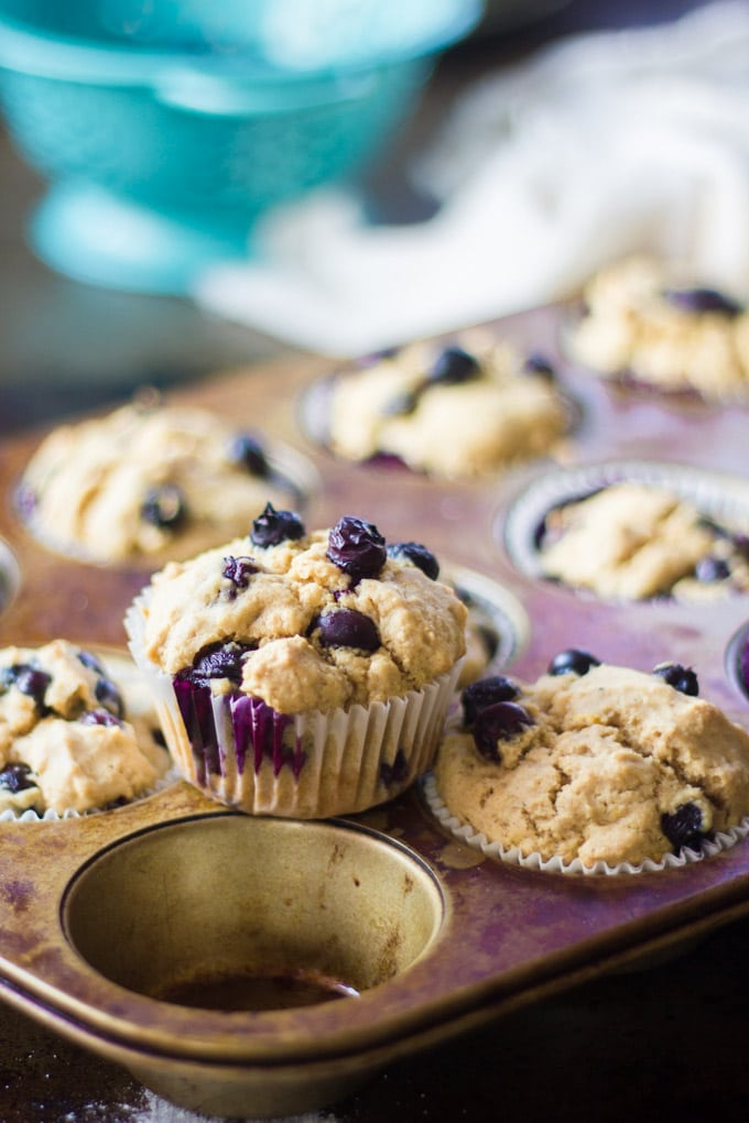 Tin of Vegan Blueberry Muffins with a Single Muffin Sitting on Top