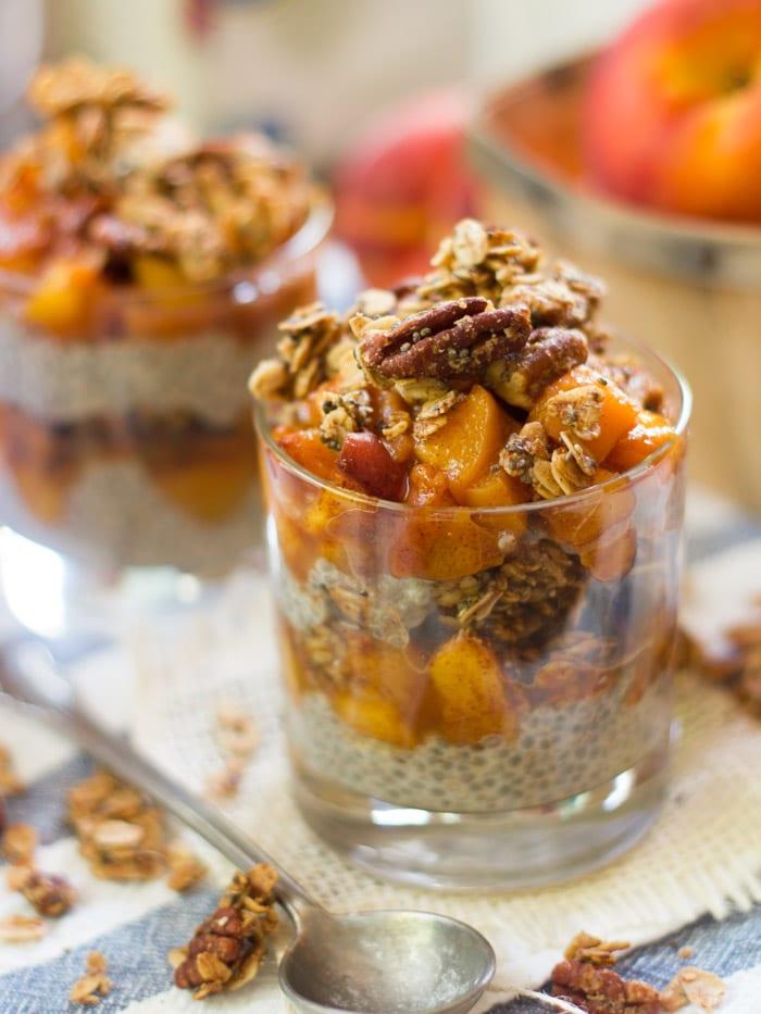 Peach Crisp Chia Pudding Parfaits