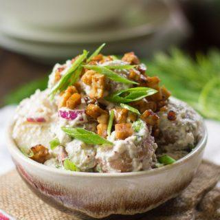 Creamy Dill Vegan Potato Salad with (Optional) Tempeh Bacon Bits