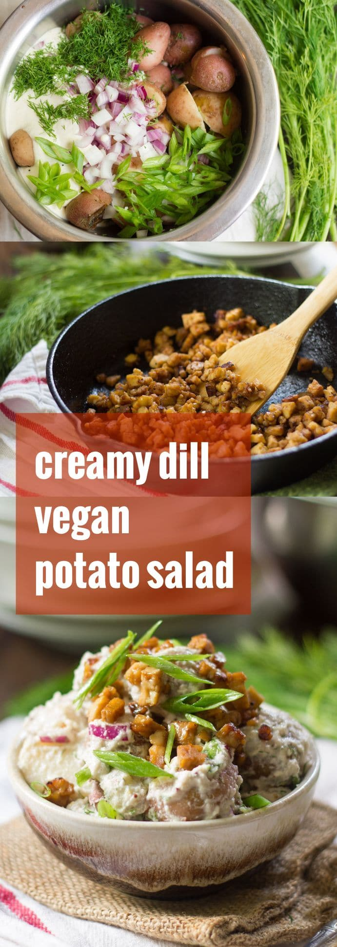 Creamy Dill Vegan Potato Salad with (Optional) Tempeh Bacon Bits