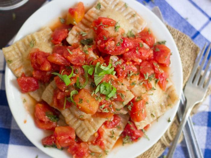 Homemade Vegan Ravioli with Pomodoro Sauce