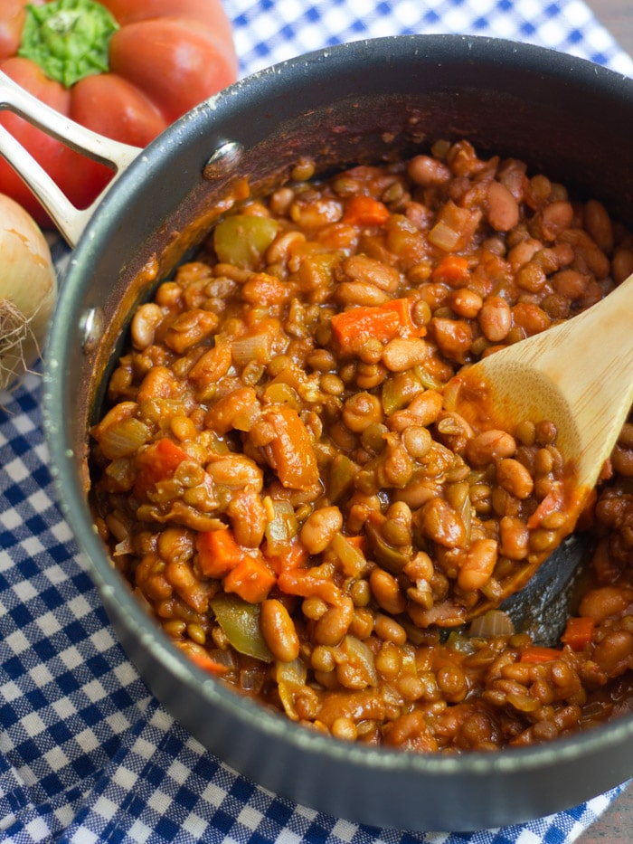 Close Up of a Pot Filled with Vegan Sloppy Joe Filling
